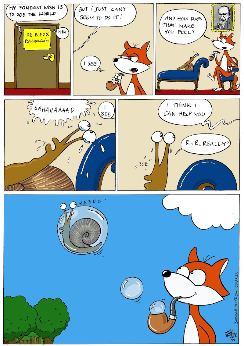 THE AIRBORNE SNAIL!!!  A BUBBLE FOX GUEST COMIC BY ELINE WAGEMAKER