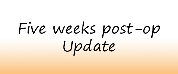 Five weeks post-op update