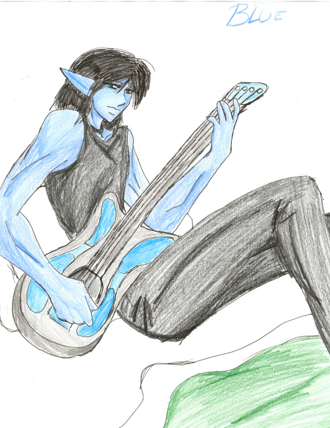 Blue and guitar