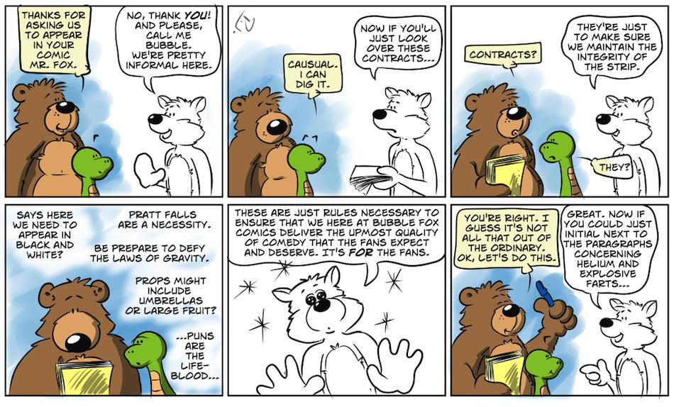 CONTRACTUAL OBLIGATIONS!!!  A BUBBLE FOX GUEST COMIC BY PJ DAY!!!