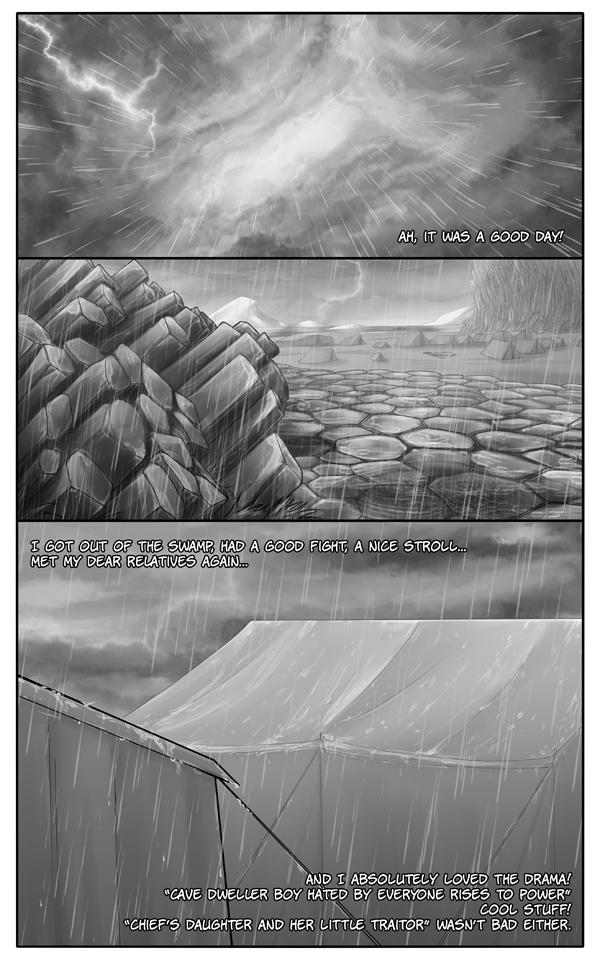 Basalt coast under the rain