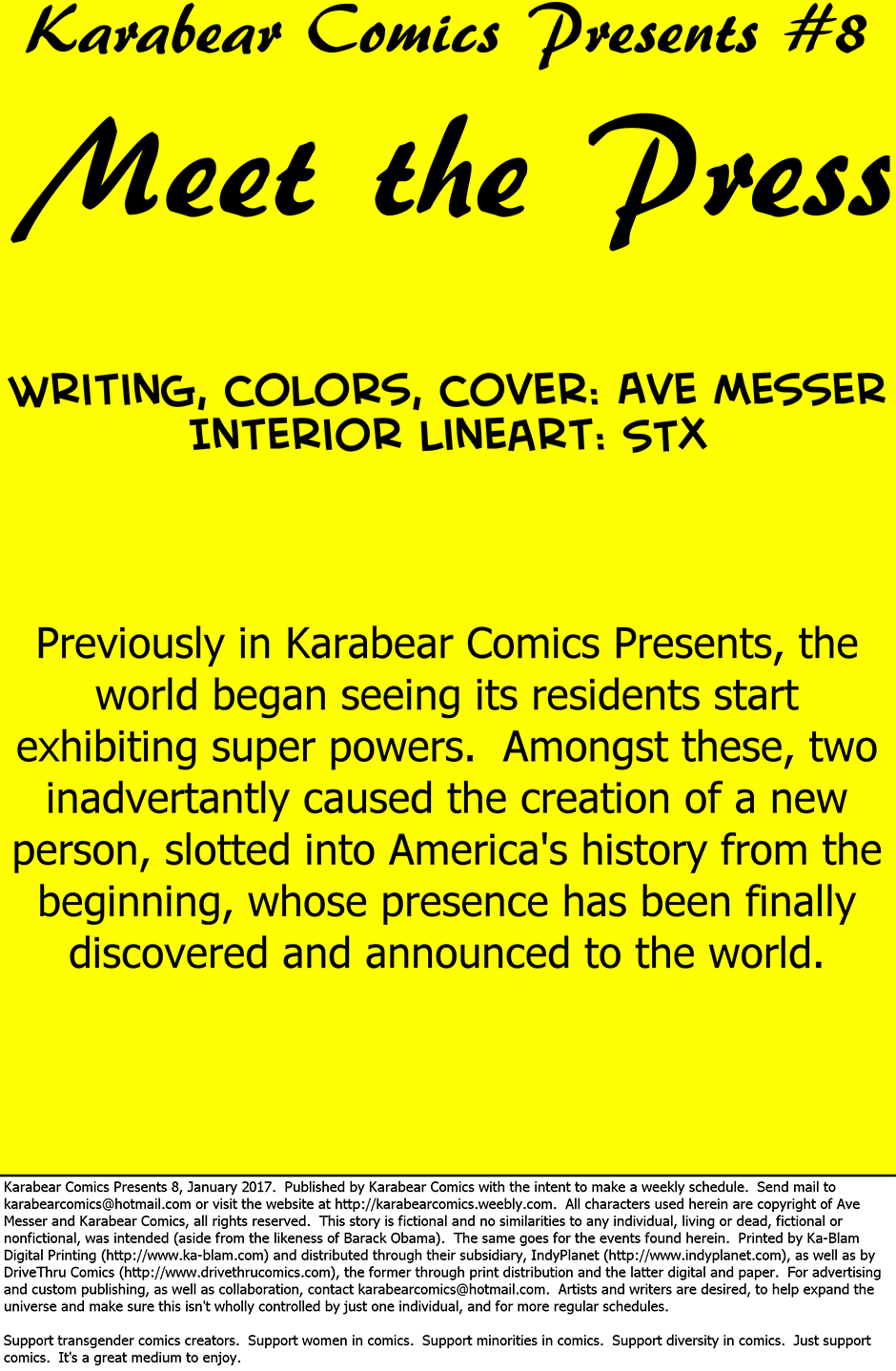 Issue 8: Meet the Press - Inside cover