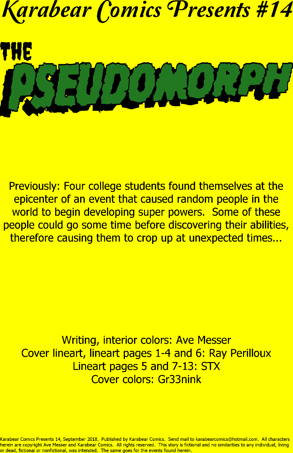 Issue 14: The Pseudomorph - Inside cover
