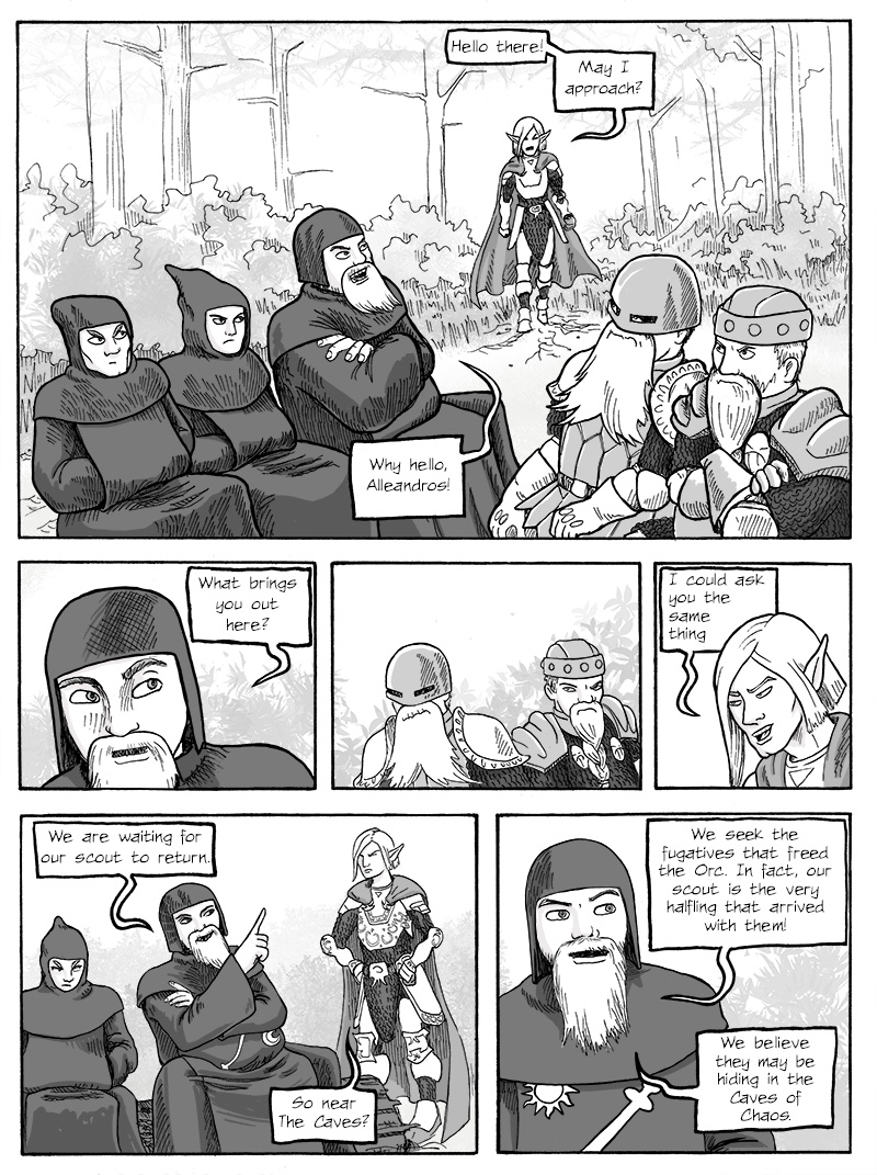 Aleandros meets up with the Priest and the Dwarf brothers.