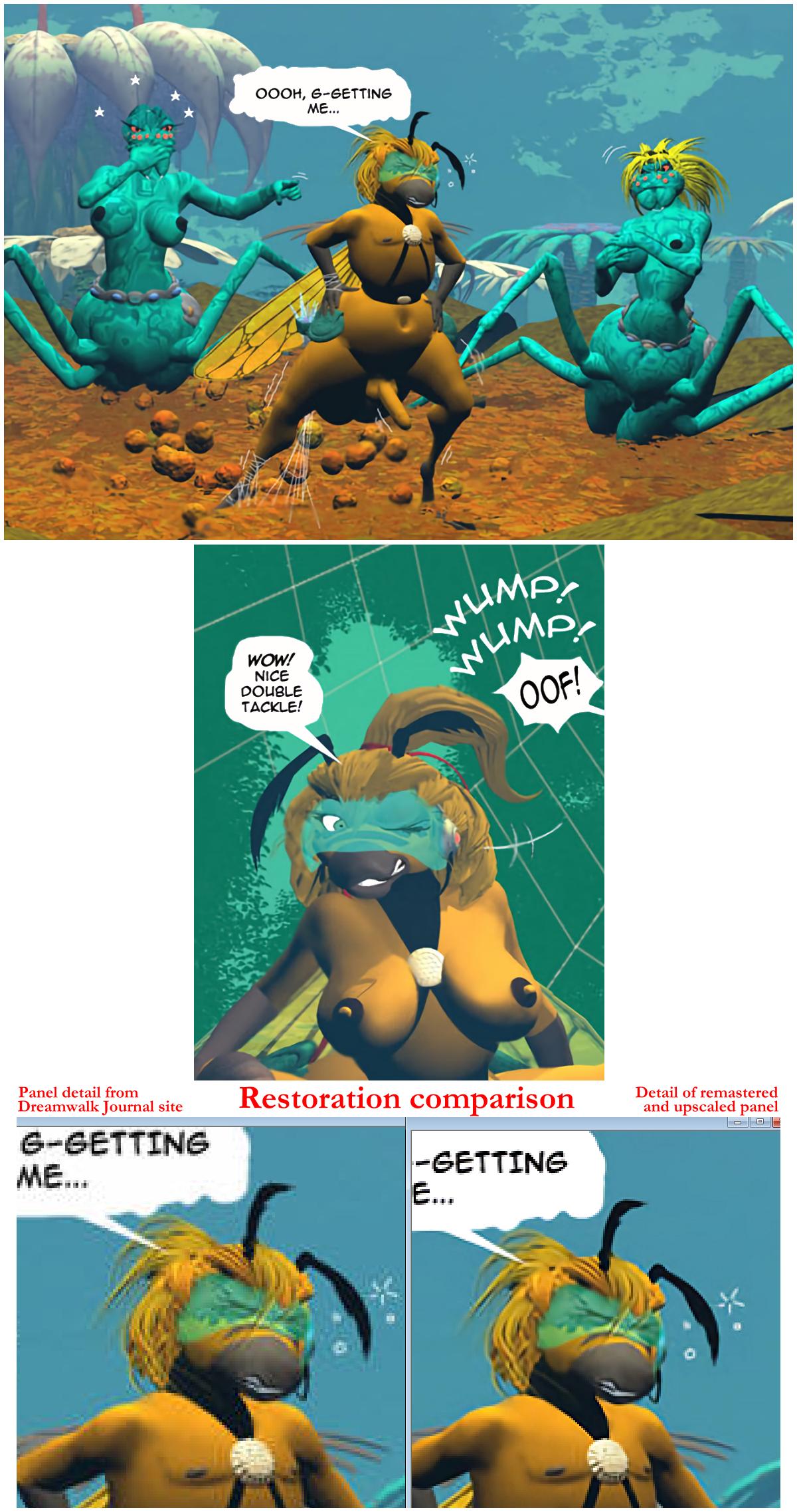The Laceweb page 23, plus restoration comparison