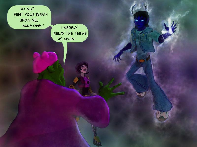 Oriab, avoiding the wrath of the Blue-One!