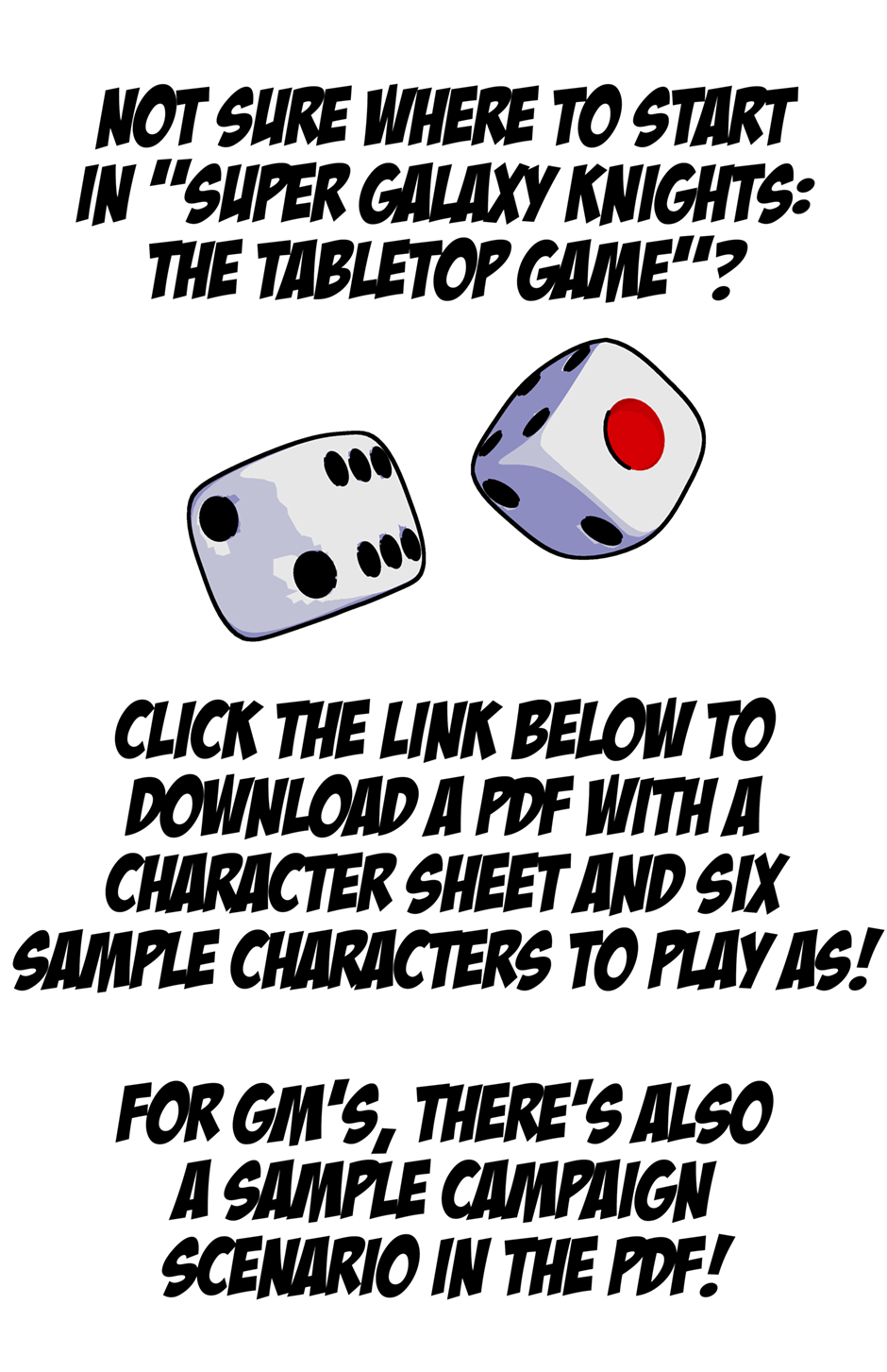 Characters and Scenarios! Super Galaxy Knights: The Tabletop Game!