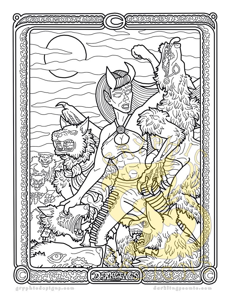 Tooth & Claw: A Darklings Coloring Page