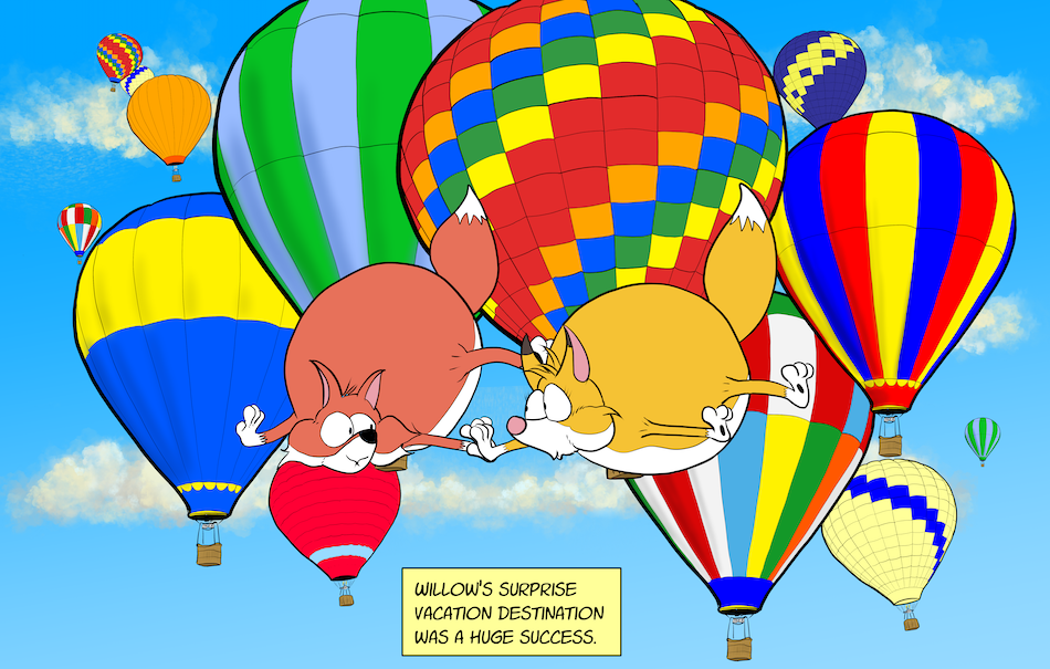 HOT AIR VACATION!!!  A BUBBLE FOX GUEST COMIC BY HOWARD STACY!!!