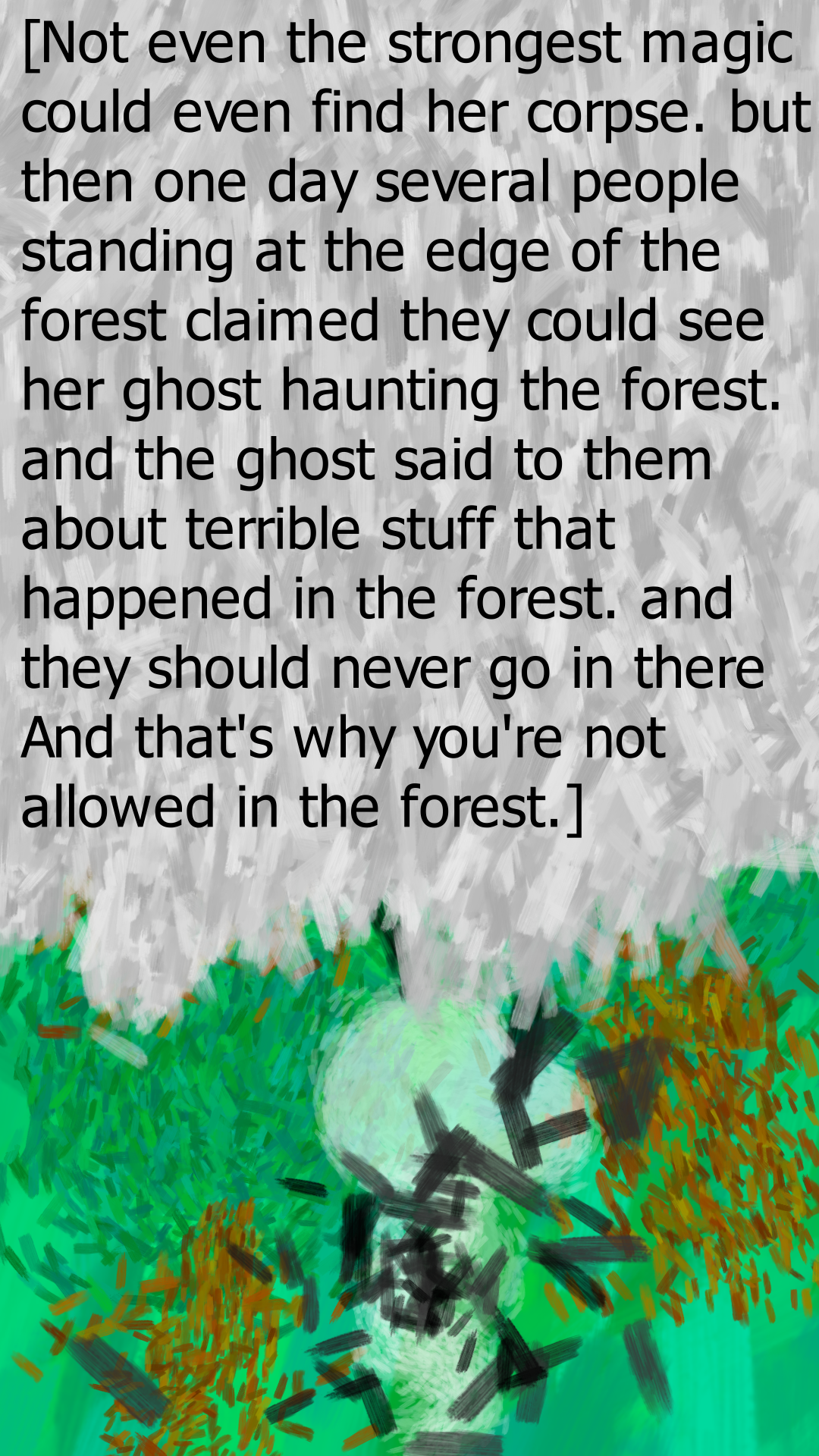 page 92 thats why your not allowed in the forest