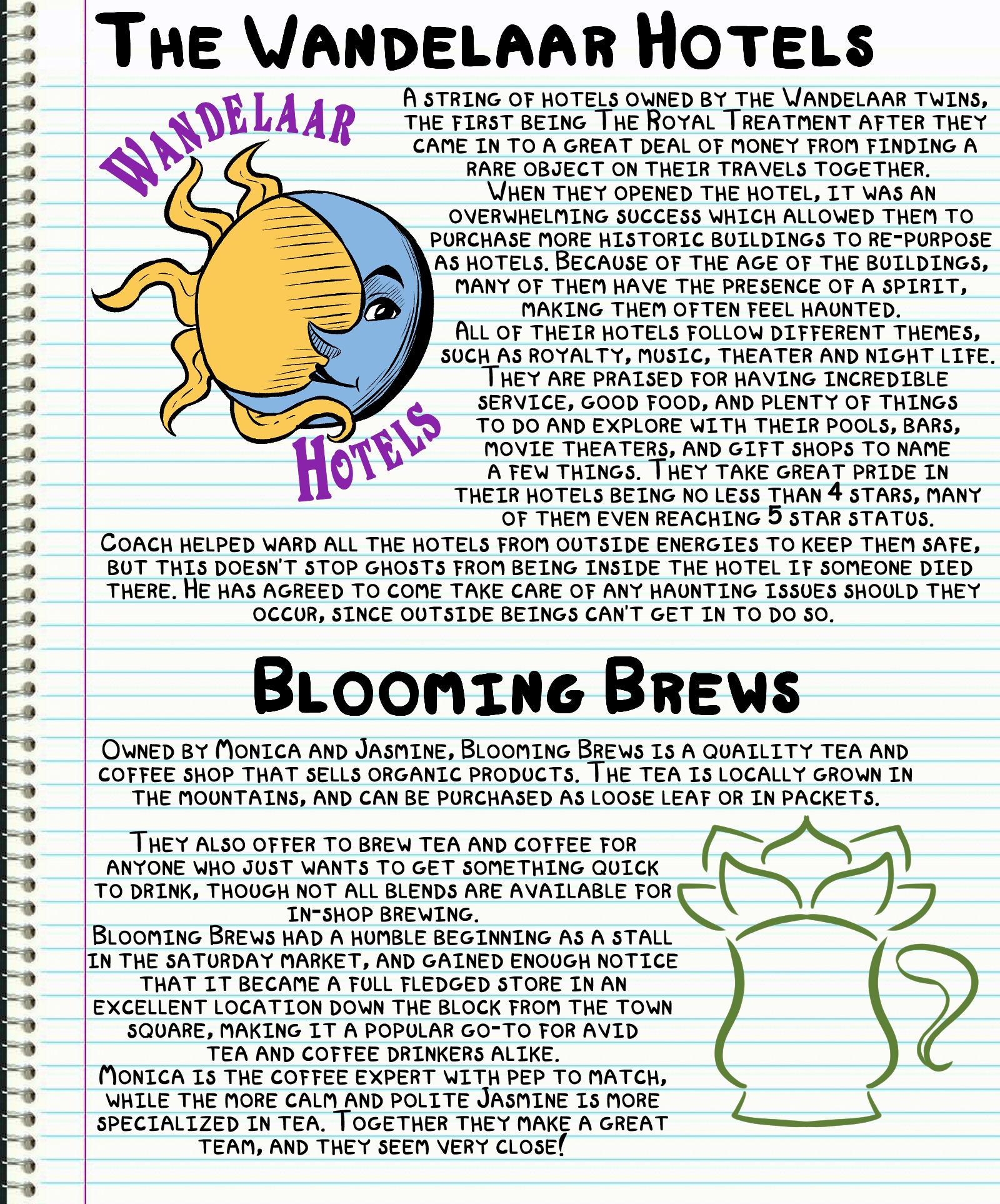 Journal Entry: Wandelaar Hotels and Blooming Brews