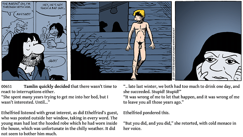Recapitulation (again), and oh, there's a naked guy outside the window