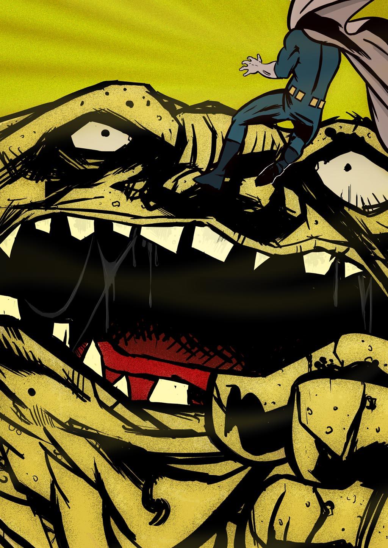 Filler Art: Versus The Sand Monster, by Fernando Ramos.